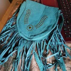 Real fringe purse